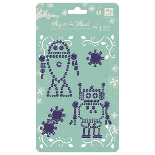 Prima - Say It In Studs Collection - Self Adhesive Jewel Art - Bling - Robot 2 - Purple, CLEARANCE