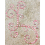 Prima - Say It In Pearls Collection - Self Adhesive Jewel Art - Bling - Corner - Pink, BRAND NEW