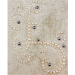 Prima - Say It In Pearls Collection - Self Adhesive Jewel Art - Bling - Corner - Cream