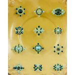 Prima - Say It In Pearls Collection - Self Adhesive Jewel Art - Bling - Flower Centers - Blue