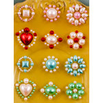 Prima - Say It In Pearls Collection - Self Adhesive Jewel Art - Bling - Flower Centers - Assortment 3, BRAND NEW