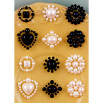 Prima - Say It In Pearls Collection - Self Adhesive Jewel Art - Bling - Flower Centers - Black and Cream, BRAND NEW