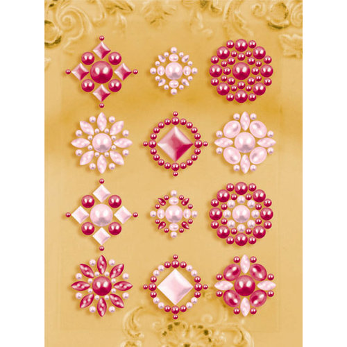 Prima - Say It In Pearls Collection - Self Adhesive Jewel Art - Bling - Flower Centers - Pink   , BRAND NEW