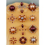 Prima - Say It In Pearls Collection - Self Adhesive Jewel Art - Bling - Flower Centers - Brown 3, BRAND NEW