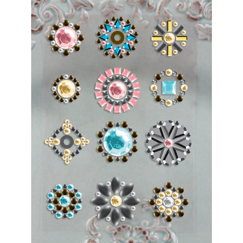Prima - Say It In Studs Collection - Self Adhesive Jewel Art - Bling - Flower Centers - Pink and Blue, BRAND NEW