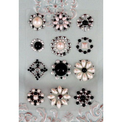 Prima - Say It In Studs Collection - Self Adhesive Jewel Art - Bling - Flower Centers - Gray and Black