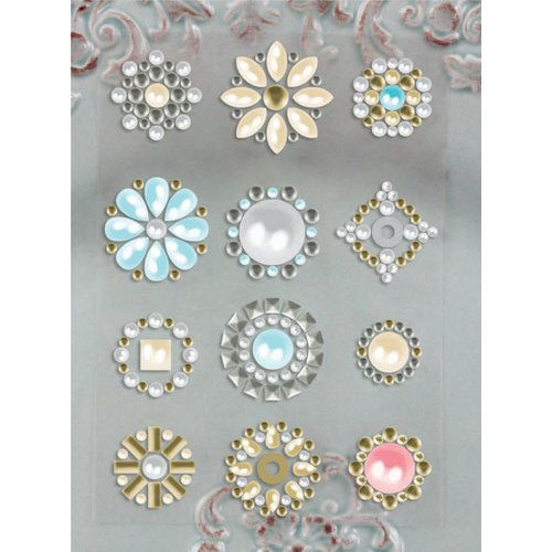 Prima - Say It In Studs Collection - Self Adhesive Jewel Art - Bling - Flower Centers - Pearl