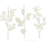 Prima - DeVines Collection - Self Adhesive - Die Cut Felt Art - Stems - Cream, BRAND NEW