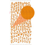 Prima - Textured Alphabet Stickers - Self Adhesive Clear Jewels and Pearls - Orange, BRAND NEW