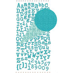 Prima - Textured Alphabet Stickers - Self Adhesive Clear Jewels and Pearls - Teal, BRAND NEW