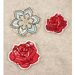 Prima - Art Stitched Charms Collection - Mulberry Embellishments - Roses