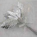 Prima - Holiday Lights Collection - Lustered Leaf Sprays - Silver, CLEARANCE