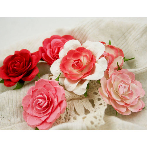 Prima - Trellis Roses Collection - Flower Embellishments - Coral Rose, CLEARANCE