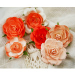 Prima - Trellis Roses Collection - Flower Embellishments - Orange Creme