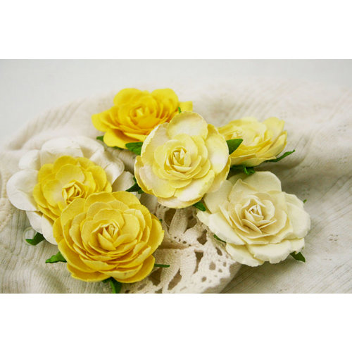 Prima - Trellis Roses Collection - Flower Embellishments - Lemon Creme