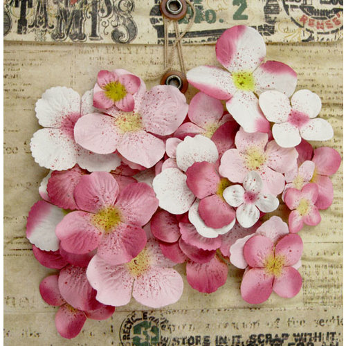 Prima - Painterly Petals Collection - Flower Embellishment Bag - Hydrangeas - Light Pink, BRAND NEW