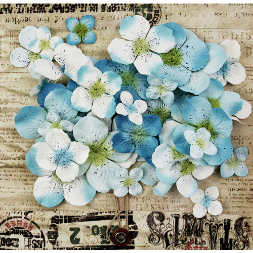 Prima - Painterly Petals Collection - Flower Embellishments - Hydrangeas - Baby Blue