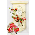 Prima - Flutter Vines Collection - Butterfly and Flower Embellishments - Scarlet
