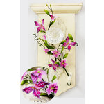 Prima - Flutter Vines Collection - Butterfly and Flower Embellishments - Fuchsia, CLEARANCE