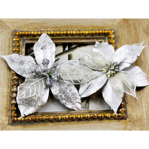Prima - Holiday Lights Collection - Flower Embellishments - Poinsettias - Silver Pearl, CLEARANCE