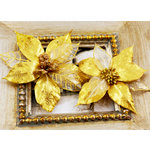 Prima - Holiday Lights Collection - Flower Embellishments - Poinsettias - Gold Luster, CLEARANCE