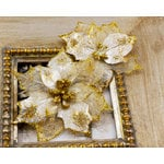 Prima - Holiday Lights Collection - Flower Embellishments - Poinsettias - Gold Dust, CLEARANCE