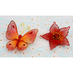 Prima - Gossamer Wings Collection - Jeweled Butterfly and Flower Embellishments - Firefly, CLEARANCE