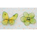Prima - Gossamer Wings Collection - Jeweled Butterfly and Flower Embellishments - Fern, BRAND NEW