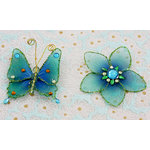 Prima - Gossamer Wings Collection - Jeweled Butterfly and Flower Embellishments - Sea Green