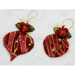 Prima - Holiday Lights Collection - Christmas - Scrapbook Ornaments - Ruby Sparkle, CLEARANCE