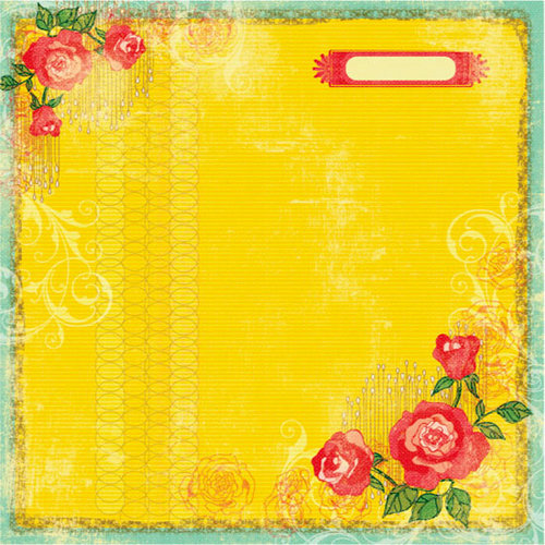 Prima - Specialty Paper Collection - 12 x 12 Embroidered Paper - Aurora Rose