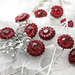 Prima - Sultan Collection - Bling - Flower Center Embellishments - Burgundy