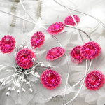 Prima - Sultan Collection - Bling - Flower Center Embellishments - Fuchsia