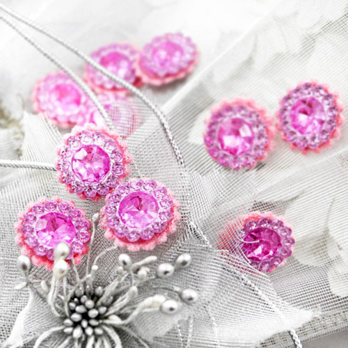 Prima - Sultan Collection - Bling - Flower Center Embellishments - Pink