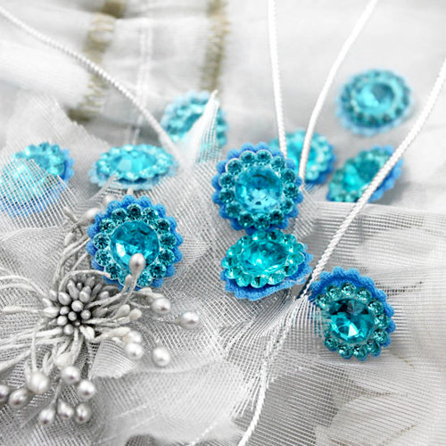 Prima - Sultan Collection - Bling - Flower Center Embellishments - Blue