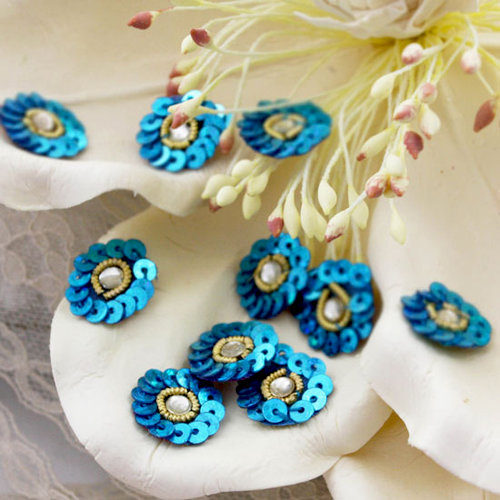 Prima - Raja Collection - Bling - Flower Center Embellishments - Blue, CLEARANCE
