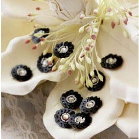 Prima - Raja Collection - Bling - Flower Center Embellishments - Black, CLEARANCE