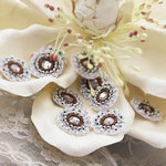 Prima - Raja Collection - Bling - Flower Center Embellishments - Silver, CLEARANCE
