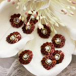 Prima - Raja Collection - Bling - Flower Center Embellishments - Brown, CLEARANCE