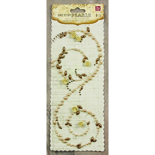 Prima - Say It In Pearls Collection - Self Adhesive Jewel Art - Bling - Swirl with Roses - Light Brown