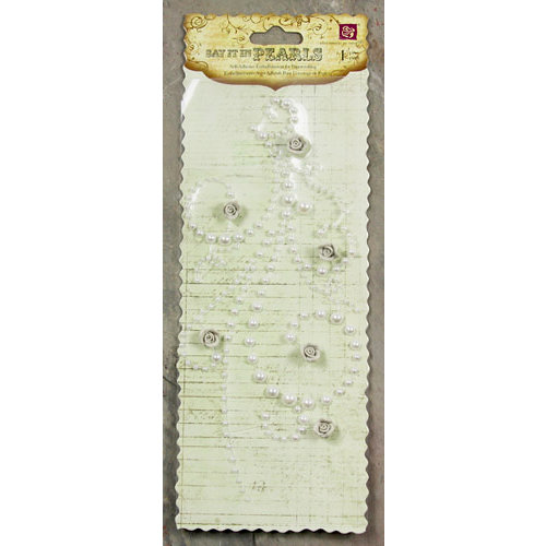 Prima - Say It In Pearls Collection - Self Adhesive Jewel Art - Bling - Flourish with Roses - Cream, CLEARANCE