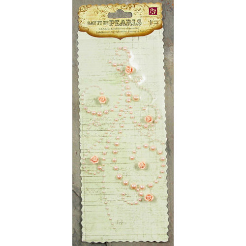 Prima - Say It In Pearls Collection - Self Adhesive Jewel Art - Bling - Flourish with Roses - Light Pink, CLEARANCE