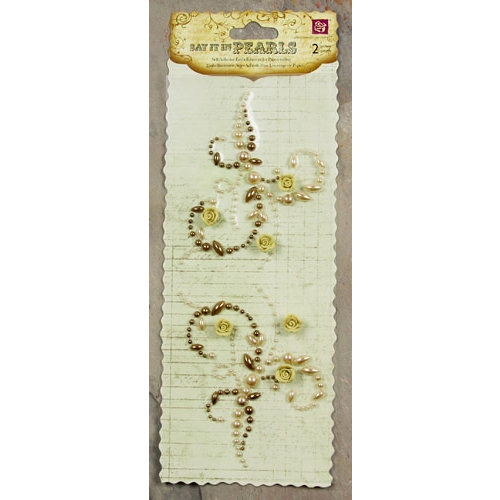 Prima - Say It In Pearls Collection - Self Adhesive Jewel Art - Bling - Mini Flourish with Roses - Light Brown, CLEARANCE