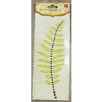 Prima - Say It In Pearls Collection - Self Adhesive Jewel Art - Bling - Fern Leaf - Green