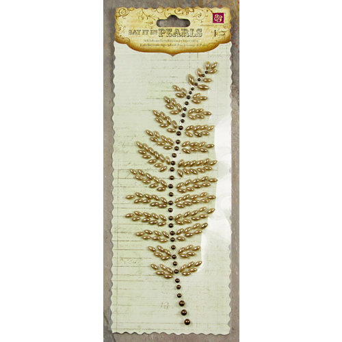 Prima - Say It In Pearls Collection - Self Adhesive Jewel Art - Bling - Fern Leaf - Brown, CLEARANCE