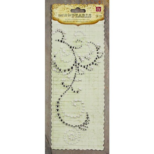 Prima - Say It In Pearls and Crystals Collection - Self Adhesive Jewel Art - Bling - Flourish - Clear