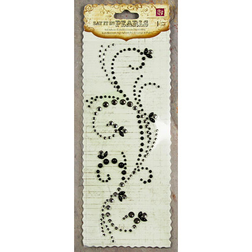 Prima - Say It In Pearls and Crystals Collection - Self Adhesive Jewel Art - Bling - Swirl - Black