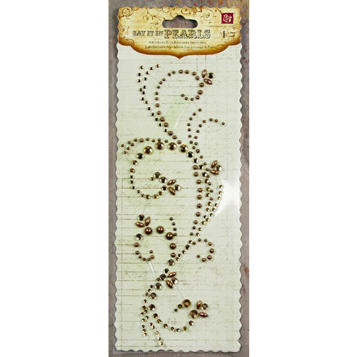 Prima - Say It In Pearls and Crystals Collection - Self Adhesive Jewel Art - Bling - Swirl - Brown