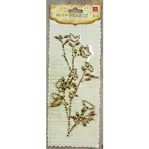Prima - Say It In Pearls and Crystals Collection - Self Adhesive Jewel Art - Bling - Flower Stem - Brown, CLEARANCE