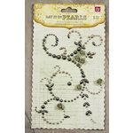 Prima - Say It In Pearls Collection - Self Adhesive Jewel Art - Bling - Swirl Corner with Roses - Gray, CLEARANCE